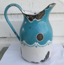 ANTIQUE Blue White Graniteware water pitcher very old Enamelware
