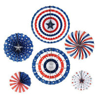1Set/6Pcs 4th of July Decorations Paper Fan Patriotic American Independence3_EO