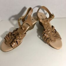 Naturalizer Women's Tan Beige Wedges Sandals Strappy Buckle Shoes Size 9 M