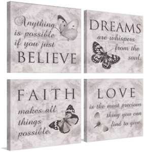 Bathroom Wall Art Butterfly Love Faith Dreams Believe Quotes Grey Pictures Inspi