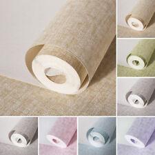 Modern Simple Plain Coloured Linen Non-woven Wallpaper Sitting Room Bedroom 10M