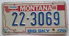 Montana 1976 BIG HORN COUNTY BICENTENNIAL License Plate # 22-3069