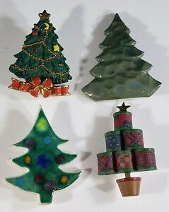 Vintage Christmas Brooch Pin Lot  Ceramic Tree signed Hallmark Agc and Handmade