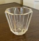 """Orrefors Sweden Crystal 3"""" 8-Sided Bud Vase Etched Ship & Sails - Hand Signed"""