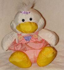 Just Friends Plush Nylon White Duck Pink  Dress Stuffed Animal Toy 1991 Moonbeam