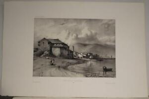 VALPARAISO CHILE 1840 MOZIN UNUSUAL ANTIQUE ORIGINAL LITHOGRAPHIC CITY VIEW
