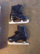 Mens Vintage Riedell Black Ice Skates Sz 10 1/3 Sheffield Steel Made England