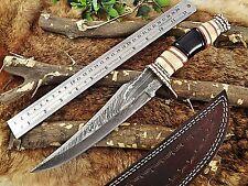 "13.5"" Long hand forged Damascus steel Hunting Knife, Camel bone Bull horn Brass"