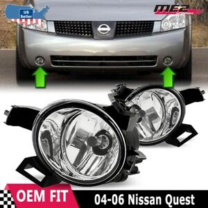For Nissan Quest 04-06 Factory Replacement Fog Lights + Wiring Kit Clear Lens