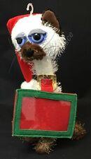 "Siamese Himalayan Cat Christmas Gift Card Holder 9"" Plush Blue Eyes Santa Hat"