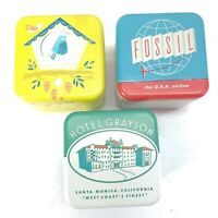 Empty Fossil Tin Box Watch Lot of 3 Collectible Birdhouse Hotel Grayson