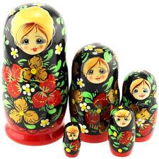 Poupée Russe Matriochka Khokhloma - Poupée Russe noir, rouge, vert motif Fraises
