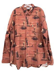 Columbia River Lodge Button Down Long Sleeve Man & Dog Hunting Shirt Size XXL
