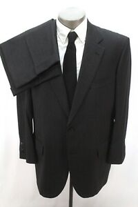 mens charcoal BROOKS BROTHERS 2pc Pant Suit wool classic two button 46 R S