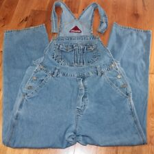 "Vintage blue denim overalls size Medium jeans high waist 28"" inseam straight leg"