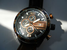 Fossil Chronograph men's brown leather quartz,battery& w.resistant watch.Ch-2559