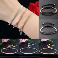Rhinestone Crystal Silver Rose Gold Slider Bracelet Bangle Women Chain Jewellery
