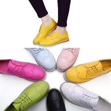 Fashion Women's Lace Up Platform Brogues Flat Shoes Girls College Students Pumps