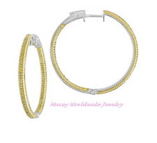 Silver Canary Yellow Diamond Inside Out Absolutely Stunning Hoop Earrings .55Ct