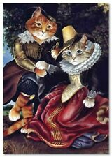 Victorian CAT LADY and Nobleman in Garden by Susan Herbert NEW Modern Postcard