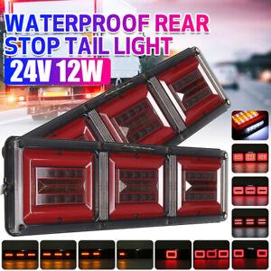 2x Trailer Truck Boat LED Rear Brake Stop Tail Fog Light 24V Flow Traffic Lamp