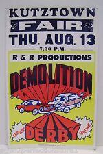 Vintage Kutztown Fair Demolition Derby Advertising Billboard Poster Sign tri pst