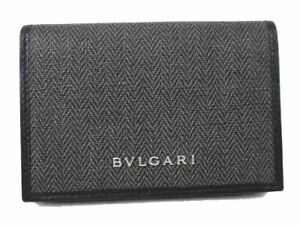 Auth BVLGARI Leather Weekend Card Case Holder Men Brand-new M1045