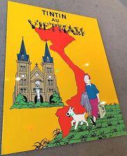 More details for tintin in vietnam - ltd laquer frame print/plaque 40x30cm poster herge parody