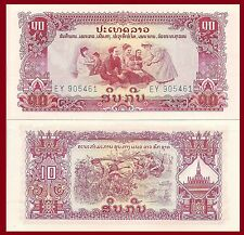 Laos P20a, 10 Kip, Pathet Lao Issue, bush fighters preparing ambush! 1968 UNC