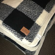 Pendleton Home Collection Black White Check Plaid F/Queen Sherpa Blanket  ~New ~