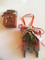 2 Vtg Handmade Christmas Decoration Sleigh Ornament, Star Box Decor
