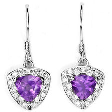 Sterling Silver 925 Genuine Natural Trillion Cut Amethyst Cluster Earrings