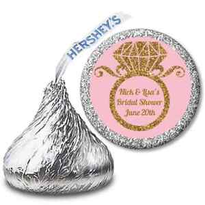 Engagement Ring Gold Glitter - Hershey Kiss Bridal Shower Personalized Stickers