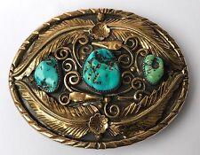 Old Pawn Large Bradley Gashwazra HOPI CHUNK Turquoise Overlay Gold Belt Buckle