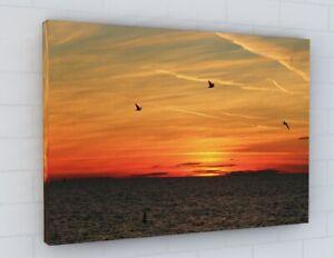 STUNNING SEASCAPE SEAGULLS ORANGE SUNSET LANDSCAPE CANVAS PICTURE PRINT 2604
