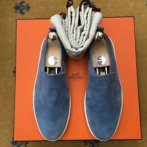 Hermes Mens Shoes Blue Suede Loafer UK 7 US 8 EU 41 Deck Boating Sneaker