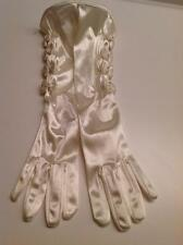 Bridal Gloves Ivory Satin Elbow with Bows One Size NEW without tags