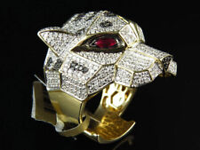 2Ct Round Sim Diamond Mens Panther Pinky Hip Hop Ring 14K Yellow Gold Plated
