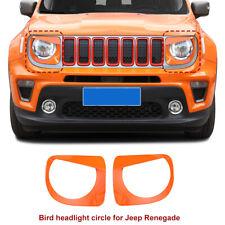2pcs Front Headlight Light Decoration Cover Trim for 2019+ Jeep Renegade Orange