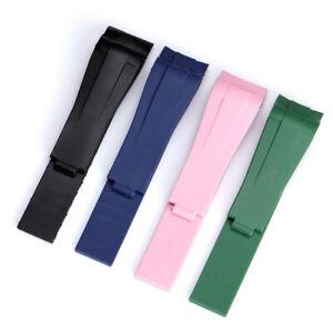 20MM Rubber Watch Band Folding Clasp Strap Fit for RolexDaytona Wirstwatch
