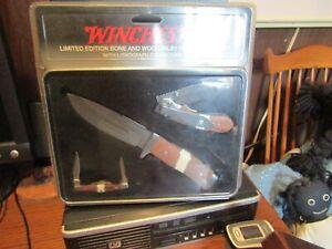 WINCHESTER BONE & WOOD INLAY KNIFE SET 3 KNIVES  IN TIN ADVERTIZING BOX