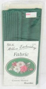 """Bucilla Silk Ribbon Embroidery Fabric 1 Piece 12 1/2""""x20"""" Green Moire No 64285"""