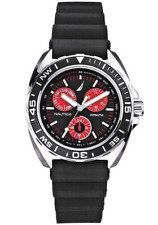 New NAUTICA Men's Sport Ring Multifunction Black and Red Watch N07577G