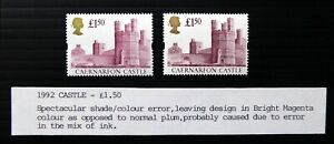 GB 1992 £1.50 Castle Spectacular Shade with Normal Error Variety U/M DJ609