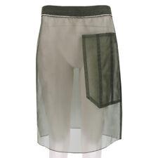 Nina Ricci Runway Collection Military Green Sheer Silk Skirt FR38 UK10