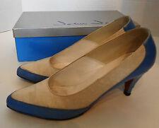 Vintage Blue Leather & White Ostrich John Jerro Shoes 8 Aa