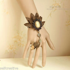 Leather Flower Queen Statue Butterfly Gothic Adjustable Ring Bracelet SET Retro