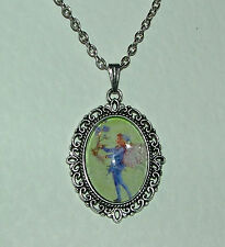 FILIGREE GREEN PURPLE FAIRY & FLOWER VICTORIAN STYLE SILVER PLATED CAMEO PENDANT