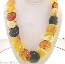 "Calibrated Graduated Chunky Genuine Baltic Sea Mixed Amber Disc Necklace 21"" #3"