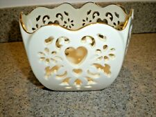 "Lenox ""Eternal Hearts"" Cut Out 5-sided Bowl 6"" across 3.5"" tall Gold Trim"